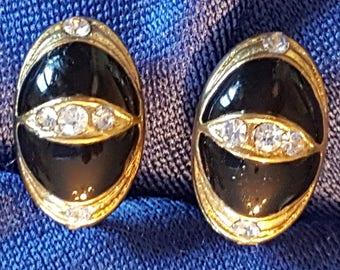 Set of Gold Black Enamel Jewelry