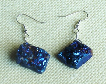 Blue Druzy and Silver Earrings