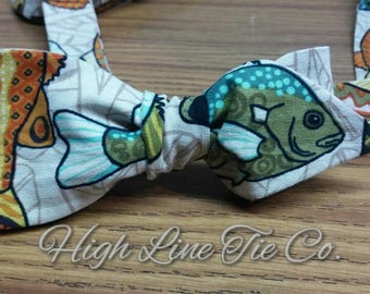 Blue Green fish self-tie bow tie