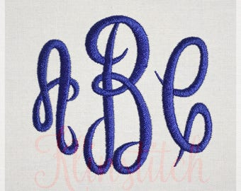 Empress Monogram Embroidery Fonts 3 Sizes Three Letters Monogram Fonts BX Fonts Embroidery Designs PES Alphabets - Instant Download