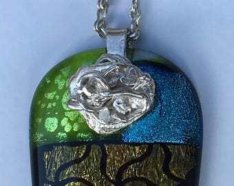 Dichroic glass and fine silver on sterling silver chain