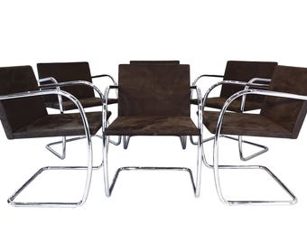 Mies van der Rohe Brno tubular steel & suede chairs