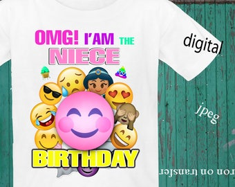 INSTANT DOWNLOAD, Emoji, Iron On Transfer, Emoji Birthday Shirt, Emoji Transfer, Emoji Party, Digital Design, JPEG, Niece