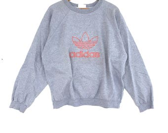 Adidas Sweatshirt silver colour Big Logo Embroidery Sweat Medium Size Jumper Pullover Jacket Sweater Shirt Vintage 90's