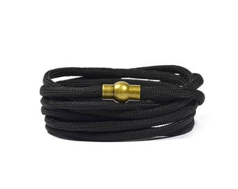 Multi Wrap Paracord in Black Bracelet