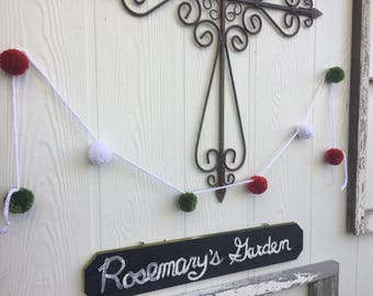 Red White Green Pom Garland