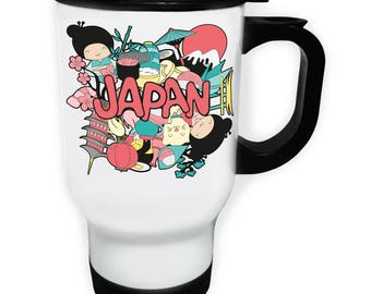 Beautiful Japan Travel White Thermo Travel Mug 14oz m858t