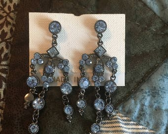 Blue Rhinestone Dangle Chandlier Earrings Prom Homecoming