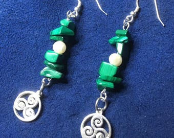 Triskele / Triskelion Malachite & Cultured Pearl Sterling Silver Earrings - Gift ~ Bithday / Valentines Day / - Wiccan / Pagan