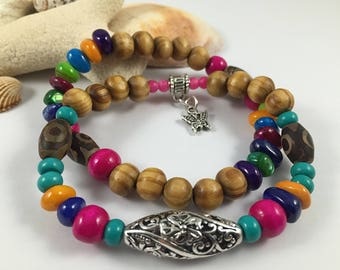 Multicolor boho stretch women bracelet set, wood and shell beads, gemstones
