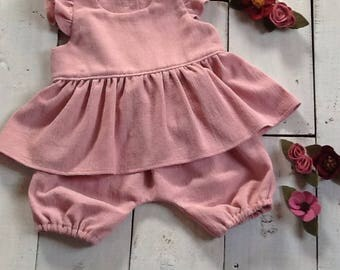 Dusty pink flutter sleeve baby top and bloomers