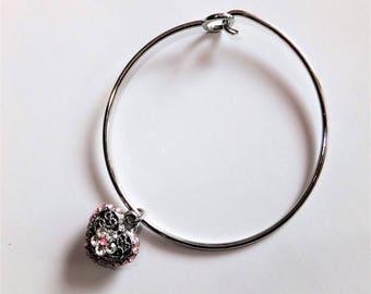 Bangle Bracelet with Reversable Heart Charm