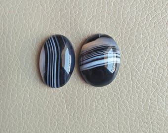 Natural 02 Piece Black Banded Onyx Gemstone Cabochon, Banded Onyx Weight 78 Carat and Size 30x20x9, 30x23x10 MM Approx, Wholesale Onyx Stone