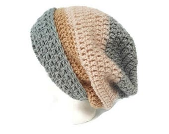 Knit slouchy hat for adult, knitted, handmade crochet, neutral colors