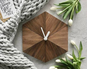 Wall clock, interior clock, design clock, decor clock, wood clock, scandinavian clock