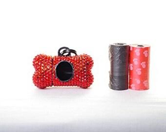 Red Crystal Rhinestone Bone shaped Waste Bag Dispenser