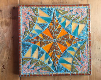 Quilt Pattern Stained Glass Mosaic Wall Hanging