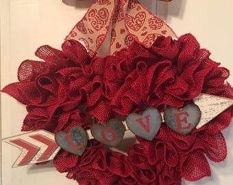 Valentine's Day wreath, burlap heart wreath.