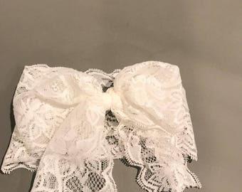 White Lace Bow Headband