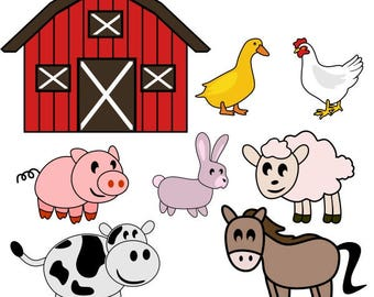Farm Animals Kids Barn Cuttable Design PNG DXF SVG & eps File Silhouette Designs Cameo