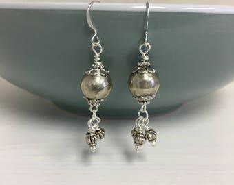 Silver chandelier drop earrings,