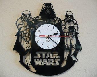 Star Wars Vinyl Clock/Star Wars Wall Clock/Star Wars Vinyl Record Clock/Darth Vader Wall Clock/Christmas gift/Home decor/Wall decor 004