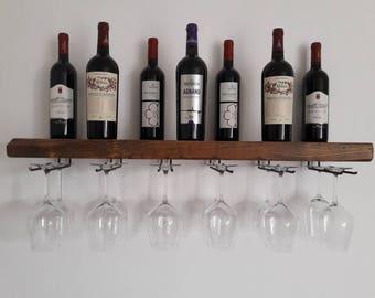 Wine shelf and fir wood glasses