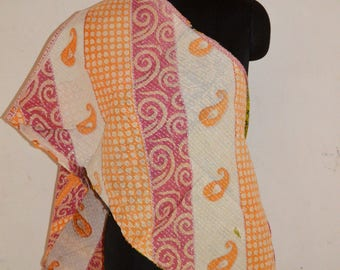 Indian Reversible Handmade Vintage Cotton Kantha Stole Neck Wrap Scarf KS02