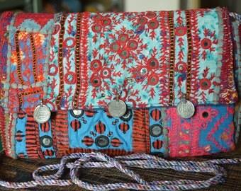 Gypsy Clutch Bag Indian Stylish Vintage Banjara Patchwork Tribal Bohemian Purse BB09