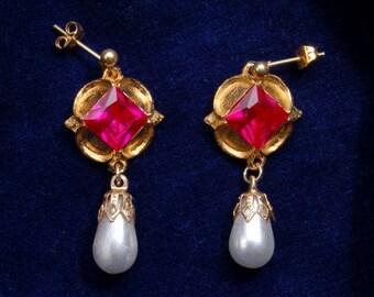 Jane Seymour Earrings with Ruby.