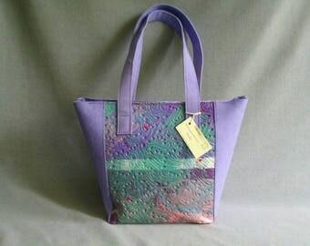 Leather shopper Lavender color, leather bag, handmade