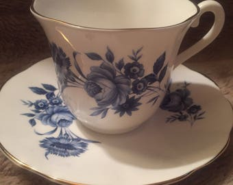 Elizabethan Blue and White Teacup and Saucer