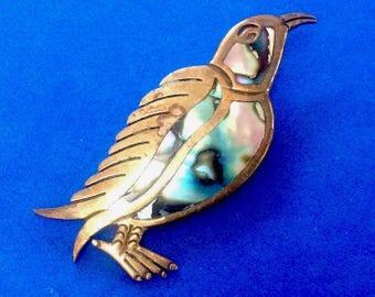 """Vintage! Early Pedro Castillo brass & abalone"""" hecho en Mexico"""" bird pin."""