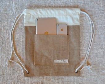 Natural Jute drawstring backpack: