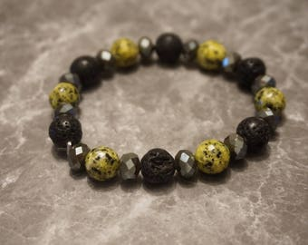 Essential Oil Diffuser Bracelet, lava rock, jade, smoky quartz, bohemian, jewelry