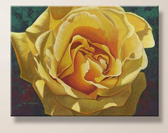 Rose, Yellow Rose, Flower Painting, Art, Nature, Realism, Giclee Print, Large Canvas, Fine Art Print, Home Decor, Office Art, Gift for Her