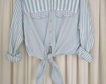 Vintage tie front crop top