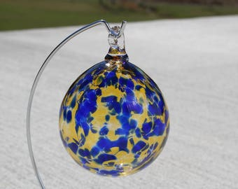 Hand Blown Glass Ornament - Gold Topaz and Cobalt Blue Confetti