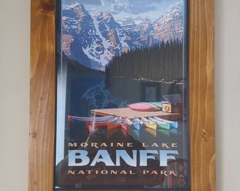 Framed Moraine lake replica travel poster