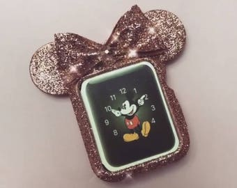 Rose gold or Champagne Gold Glitter Sparkle Mouse Ears Disney inspired Apple Watch Case
