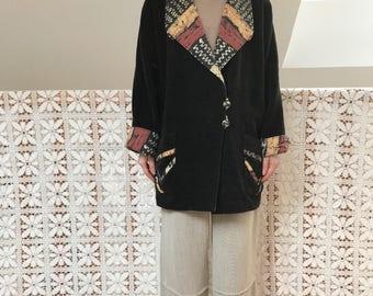 Vintage colorful patterned black velvet coat