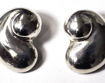 Sterling Silver Hollow Bean Abstract Clip On 34mm Earrings TV 41