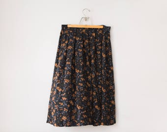 Vintage Black and Tan Floral Maxi Skirt // 1990's Long Dark Floral Skirt // Women's Size Extra Large