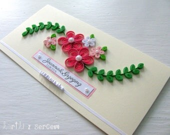 Occasional handmade card for wedding, anniversary, birthday, quilling filigree, scrapbooking