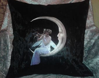 Glittery Fairy sitting on the Moon Black Crushed Velvet Cushion Cover