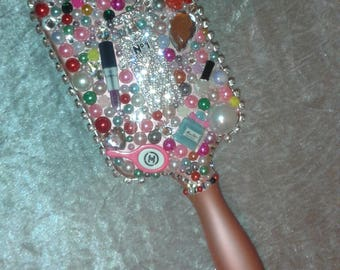 Head Jog 81 Sparkly Decorative Paddle Hairbrush with Rhinestones, Pearls & Cabochons