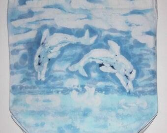 Batik Bag Dolphin Love Blue Teal Colors