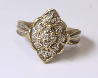 10kt Gold 3.3g Baguette and Round Diamond Cluster Ring, Size 7