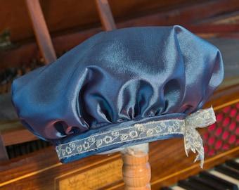 Regency Style Beret/Tam THE HARRIET - Cerulian Blue Taffeta (with braid)