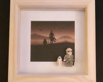 Lego Star Wars Rey BB8 minifigure framed art